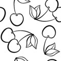 Beautiful black and white seamless doodle pattern with cute doodle cherry sketch. Hand drawn trendy background. design background Royalty Free Stock Photo