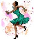 Beautiful black woman dancing