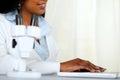 Beautiful black young woman working at laboratory Royalty Free Stock Photo