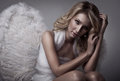 Beautiful blond angel portrait of Stock Image