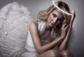 Beautiful blond angel portrait of Stock Photography