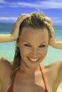 Beautiful blond in bikini on beach Royalty Free Stock Photo