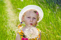 Beautiful blond girl in hat and flower image Royalty Free Stock Photo