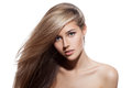 Beautiful blond girl healthy long hair white background young Royalty Free Stock Photo