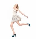 Beautiful Blond Girl Jumping Royalty Free Stock Images