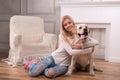 Beautiful blond girl with Labrador Retriever Royalty Free Stock Photo