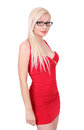 Beautiful blond girl in red dress with eyeglasses Stock Photography