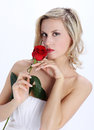Beautiful blond girl with red rose flower on a white background in the hands Royalty Free Stock Photos