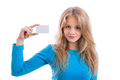 Beautiful blond girl showing blank business card Royalty Free Stock Photo