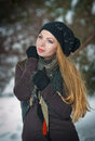 Beautiful blond hair girl in winter clothes Royalty Free Stock Image