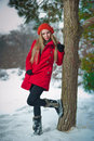 Beautiful blond hair girl in winter clothes Stock Image