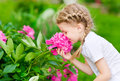 Beautiful blond little girl with long hair smelling flower horizontal portrait of a peony Stock Photos