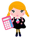 Beautiful blond school girl with calculator cute in uniform vector cartoon illustration Stock Images