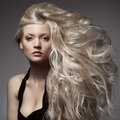 Beautiful blond woman curly long hair elegant Royalty Free Stock Photos