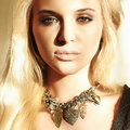 Beautiful blond woman in daylight close up portrait of Stock Image