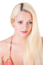 Beautiful blond woman portrait and straight long hair Royalty Free Stock Photography