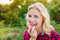 Beautiful blond woman in red checked shirt eating apple Royalty Free Stock Photo