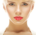Beautiful blond woman with red lipstick close up portrait of young Royalty Free Stock Photography