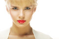Beautiful blond woman with red lipstick close up portrait of young Stock Photo