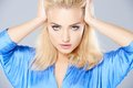 Beautiful blond woman with a sultry look Royalty Free Stock Photo