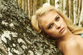 Beautiful blond woman on a wood tree in forest Royalty Free Stock Photos