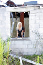 Beautiful Blonde at an Abandoned House (1) Stock Photos