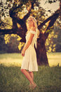 Beautiful blonde angel attractive dressed as an Royalty Free Stock Photo