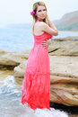 Beautiful blonde ashore epidemic deathes in rose gown one Royalty Free Stock Image