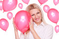 Beautiful blonde and balloons Royalty Free Stock Photography