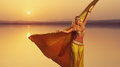 Beautiful blonde belly dancer woman Royalty Free Stock Photo