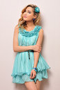 Beautiful blonde in blue dress, Royalty Free Stock Photos