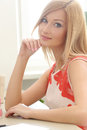 Beautiful blonde cute attractive at home Royalty Free Stock Photos