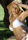 Beautiful Blonde Female In Bikini Stock Photos