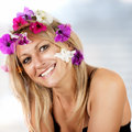 image photo : Beautiful blonde with flowers in her hair