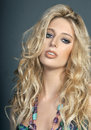 Beautiful blonde girl with messy hair pose sexy Royalty Free Stock Photos