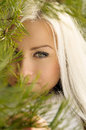 Beautiful blonde girl tree winter Royalty Free Stock Photos