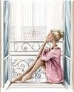 Beautiful blonde hair woman sitting on windowsill. Royalty Free Stock Photo