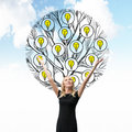 A beautiful blonde holds her hands up. A sketch of a tree with light bulbs is drawn behind the person. Cloudy sky background. Ligh Royalty Free Stock Photo