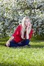 Beautiful blonde outdoors Royalty Free Stock Image