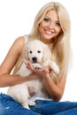Beautiful blonde with a small white puppy of labrador smiling young woman pet studio shot close up woman in sweater retriever love Royalty Free Stock Photos