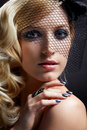 Beautiful blonde in veil Stock Images