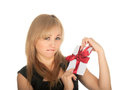 Beautiful blonde woman and gift postcard in her hands. feast day of St. Valentine Stock Photos