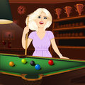 Beautiful blonde woman holding cue stick