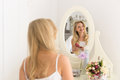 Beautiful Blonde Woman Looking In Mirror Brush Hair, Young Girl Morning Happy Smiling Royalty Free Stock Photo