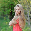 Beautiful blonde woman outdoor portrait Royalty Free Stock Photo