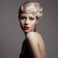 Beautiful blonde woman retro fashion image young Royalty Free Stock Image