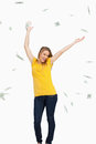 Beautiful blonde woman tossing dollars Royalty Free Stock Photo