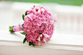 Beautiful blossoming pink hydrangea and orchids in weddin bouquet Royalty Free Stock Photo