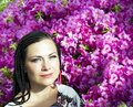 Beautiful blue eyed woman with the african pigtails on a background blooming pink azaleas Stock Photos