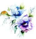 Beautiful blue flower watercolor painting Royalty Free Stock Photo